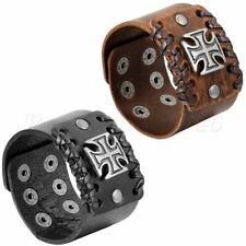 "44MM Wide Black Brown Leather Celtic Cross Bracelet Christian Templar Cuff 9.3"""