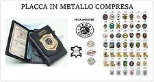 Cartera Porta Doc, De la piel con Placa Metal Vega Holster Italia 1WD Elija