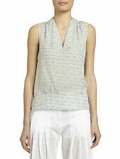$650 NEW Maiyet Shirt Tail Top Blouse Lt Blue Gray Ivory Silk Chiffon V Neck 36