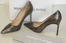 New Manolo Blahnik BB 105 Bronze Black Suede Shoes Pumps Heels  Gold 39 40.5