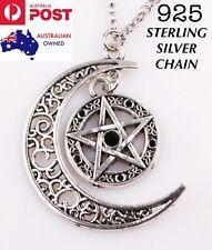 Black Crystal Pentagram Crescent Moon Pendant 925 Sterling Silver Chain Necklace