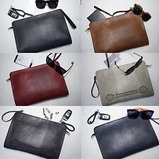 Korea New Men Square Her Faux Leather Clutch Bag Pouch Purse Briefcase  7 Colors