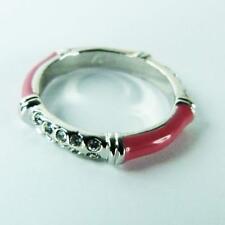 bague plaqué or blanc émail rose cristal Swarovski anneau fin simple moderne
