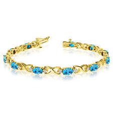14k Yellow Gold Natural Blue-Topaz And Diamond Tennis Bracelet