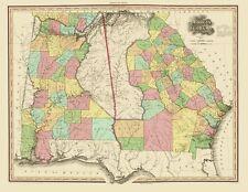 Old State Map - Georgia, Alabama - Tanner 1825 - 23 x 29.80
