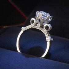 925 Silver Round Cut White Topaz Wedding Engagement Ring Women Jewelry Size 4-9