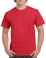 Gildan Rojo Pesado Algodón Camiseta Para Hombres Llano Camiseta: S M XL XXL 3XL 4XL 5XL