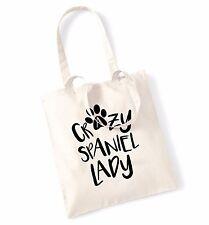 Crazy spaniel lady tote bag dog pet animal puppy love heart funny Spaniel  1826