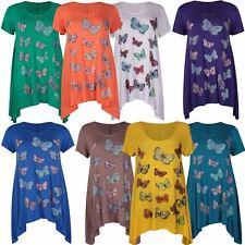 Nueva camiseta para mujer Talla Grande Dobladillo Pañuelo Mariposa Damas Lentejuelas Impresión Top 14-28