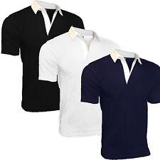 Camiseta de rugby hombre 100% ALGODÓN MANGA CORTA NORMAL NUEVO EXCELENTE CALIDAD