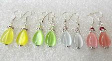 glass cats eye drops earrings - choice of 4 colours