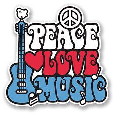 2 x 10cm Love Peace Music Vinyl Sticker Laptop Car Camper Surf Guitar Kids #5659
