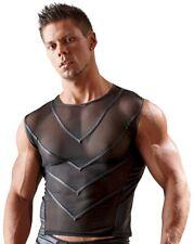 Herren Männer Shirt eng transparent schwarz S M L XL XXL ärmelos  Muskelshirt