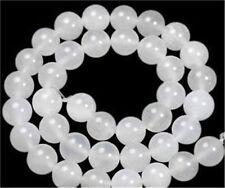 6-10mm  White Jade Gemstone Round Loose Bead 15''