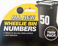 confezione da 2 bianco bidone dei rifiuti con ruote numeri civici pattumiera