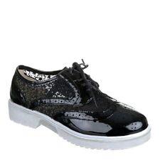 Women Free Style Ballerina lace up Court shoes Sneaker comfort mokassin black
