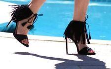 Zara Noir Frange Talon Sandales Taille UK3 EUR36 US6