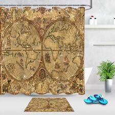 Vintage Parchment World Map Waterproof Fabric Shower Curtain Set Bathroom Hooks