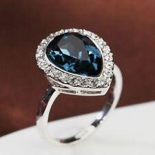 18K White Gold Plated Made With Swarovski Crystal Waterdrop Dark Sapphire Ring