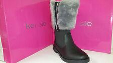 Kensie Britne Girls Leather & Fur Winter Boots Size 12-5 Black & Grey