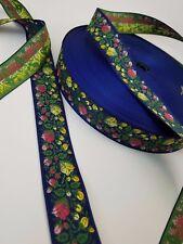 Flower Buds Blue Swedish Folk Fabric Trim 1/1/4 in wide Sold by the yard