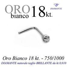 Piercing naso nose in ORO BIANCO 18kt.con DIAMANTE taglio BRILLANTE kt.0,010