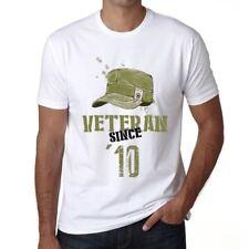 Veteran Since 10 Uomo Maglietta Bianca Regalo Di Compleanno 00436