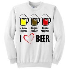 Felpa unisex uomo o donna I love beer, divertente, bionda mora e rossa