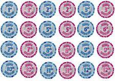 hélium 45.7cm Ballon plat 1st-12th joyeux anniversaire ballons fête rose & Bleu