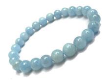 Natural AquaMarine Gemstone Round Sphere Balls Bead Elastic Bracelet Gemstones $