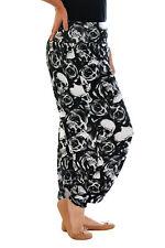 Womens Plus Size Harem Trouser Skull & Roses Print Ladies Ali Baba Yoga Nouvelle