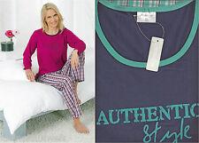 Hochwertiger Damen Schlafanzug Pyjama,in 2 Farben, Rundhals, Größen S-XL 36-50