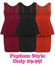 Womens Winter Peplum Dress Button Black Wine Rust Ladies New Dress UK 8 10 12 14