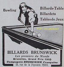 PUBLICITE BILLARD BRUNSWICK TABLE DE JEU 1911 FRENCH AD