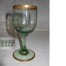 4 bicchieri da liquore verde e oro. Murano anni '50 V2 sherry glasses