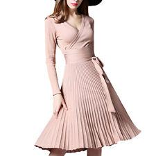Hot High Quality Elegant Winter Dress Office Dresses For Women Decorative Sashes
