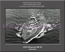 USS Arkansas BB 33 Personalized Canvas Ship Photo Print Navy Veteran Gift