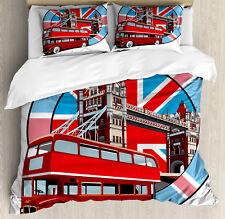 London Duvet Cover Set with Pillow Shams British Metropol City Print