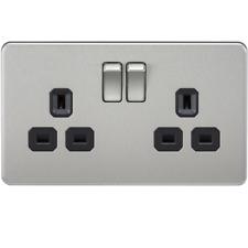 Knightsbridge 2G DP 13A Screwless Brushed Chrome 3 Pin Switched Wall Socket