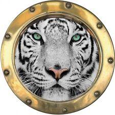 Sticker hublot trompe l'oeil déco Tigre H369