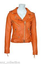 Brando Ladies Orange Biker Style Motorcycle Cruiser Napa Italian Leather Jacket