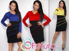 Lovely 2 Colors Women's Dress Jersey V-Neck Long Sleeve Sizes 10 -18 FK1201
