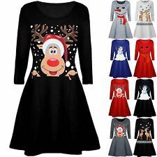 Kids Christmas Xmas Smiley Reindeer Hat Snowfall Flared Girls Swing Mini Dress