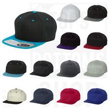 Flexfit Wool Blend Flat Bill Snapback Cap Structured Mens Hat Adjustable - 110F