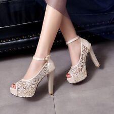 Summer Womens High Heel Platform Mesh Lace Peep toe Ankle Buckle Pumps Plus Sz