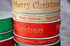 Grosgrain ribbon MERRY CHRISTMAS craft sewing scrapbooking present FULL REELS