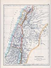 1912 MAP ~ Palestina ~ GALILEA Giudea Samaria capolis