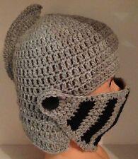 HANDMADE IN THE UK Crochet Knit Roman Knight Helmet Hat All sizes