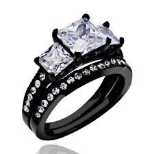 1.9 Ct Princess Cut AAA CZ Black Stainless Steel Wedding Ring Band Set Women's
