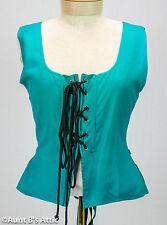 Renaissance Vest Ladies Pirate Wench Reversible Rayon Laced Front Costume Vest
